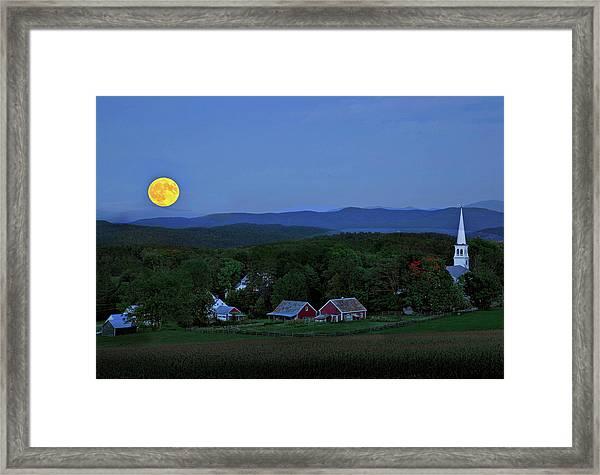 Harvest Moon Over Peacham Vermont Framed Print