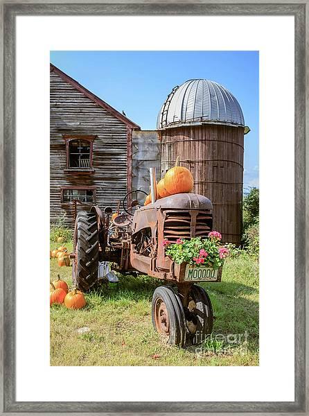 Harvest Time Vintage Farm With Pumpkins Framed Print