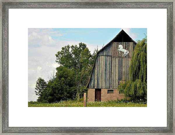 0017 - Hassler Lake Road Horse Barn Framed Print