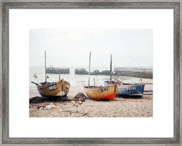 Hastings England Beached Fishing Boats Framed Print by Richard Singleton