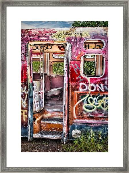 Framed Print featuring the photograph Haunted Graffiti Art Bus by Susan Candelario