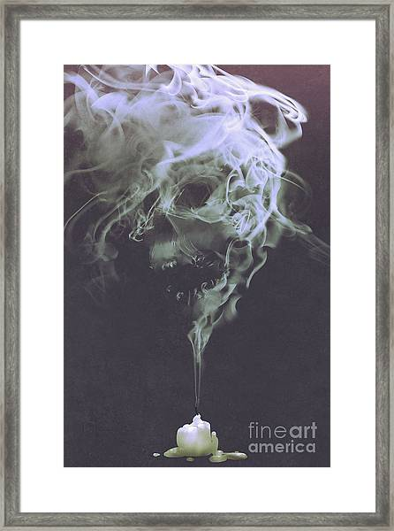 Framed Print featuring the painting Haunted Smoke  by Tithi Luadthong