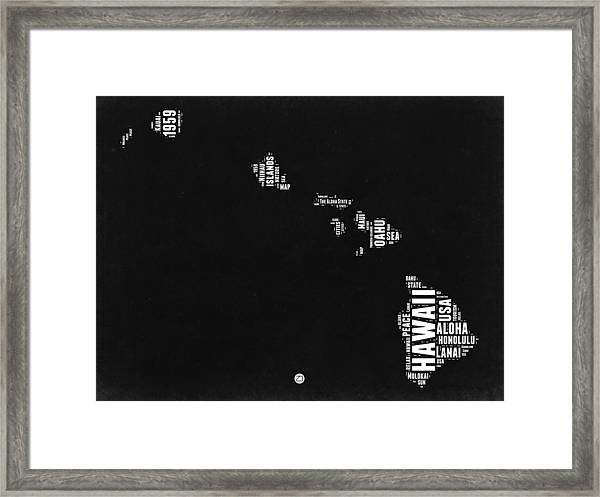 Hawaii Black And White Map Framed Print