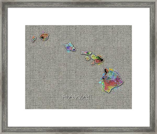 Hawaii Map Color Splatter 4 Framed Print