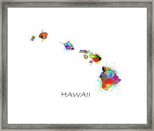 Hawaii Map Color Splatter  Framed Print