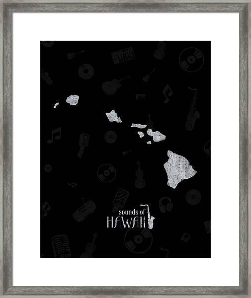 Hawaii Map Music Notes 2 Framed Print