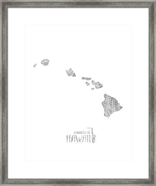 Hawaii Map Music Notes Framed Print