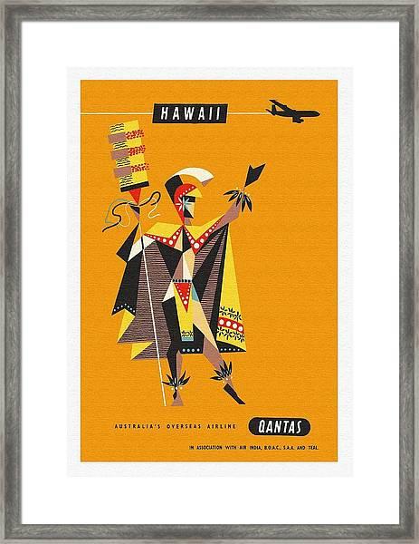 Hawaii Qantas Airways Vintage Hawaiian Travel Poster By Harry Rogers Framed Print