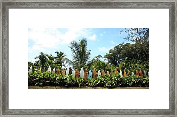 Hawaii Surfboard Fence Framed Print
