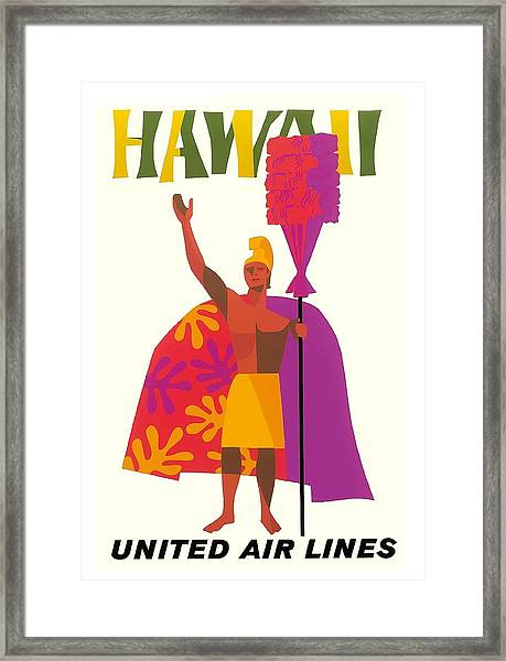 Hawaiian Chief United Air Lines Vintage Travel Poster Framed Print