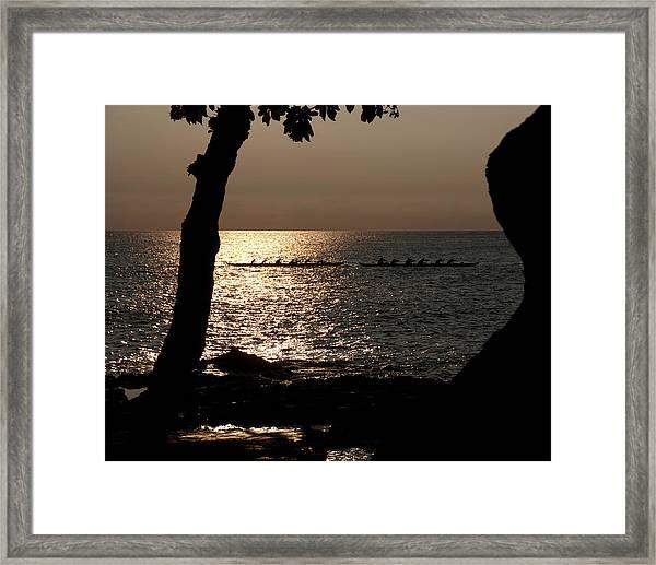 Hawaiian Dugout Canoe Race At Sunset Framed Print
