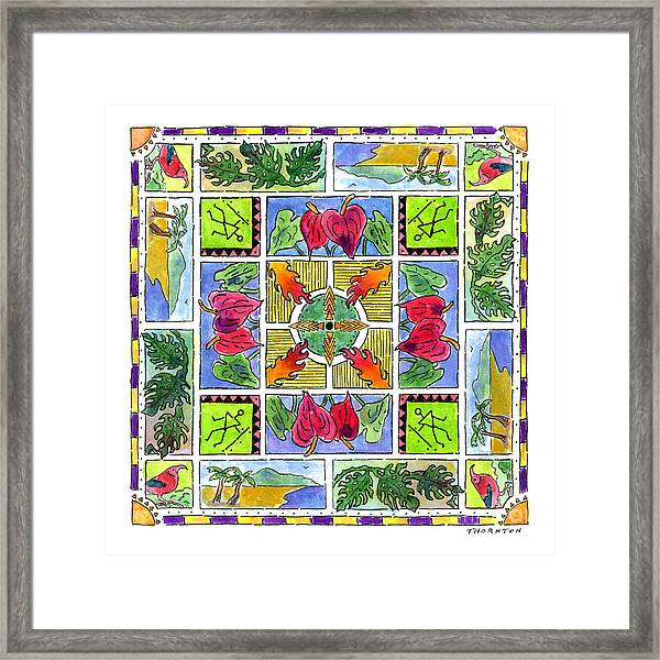 Hawaiian Mandala Iv - Anthuriums Framed Print