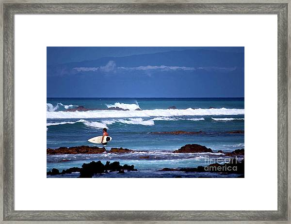 Hawaiian Seascape With Surfer Framed Print
