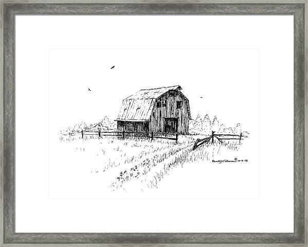 Hay Barn With Broken Gate Framed Print