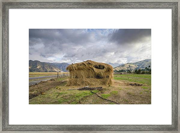 Hay Hut In Andes Framed Print