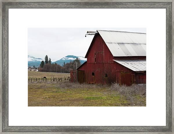 Framed Print featuring the photograph Hayfork Red Barn by Lorraine Devon Wilke