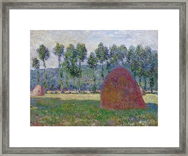 Haystack At Giverny, 1885 Framed Print
