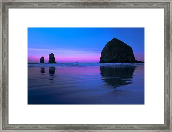 Haystack Morning Framed Print