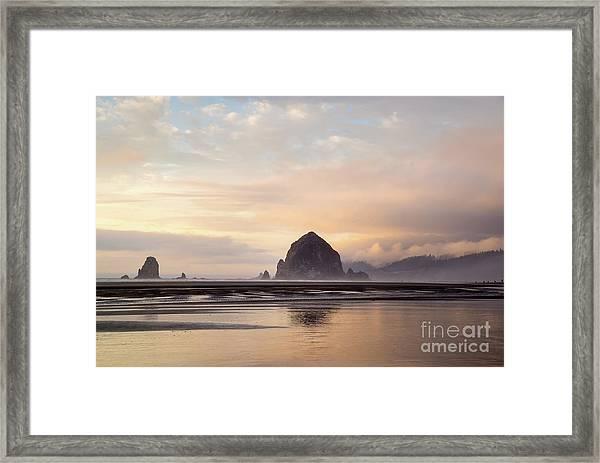 Haystack Rock After The Rain Framed Print