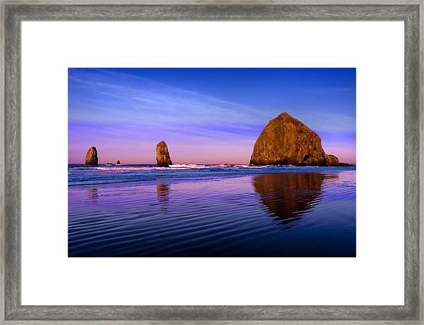 Haystack Sunrise Framed Print