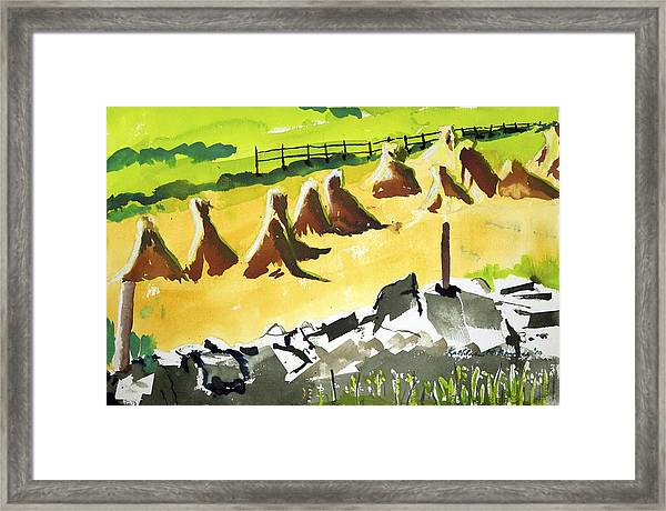 Haystacks And Wall Framed Print