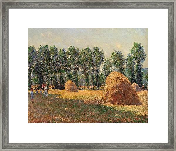 Haystacks At Giverny 1 Framed Print