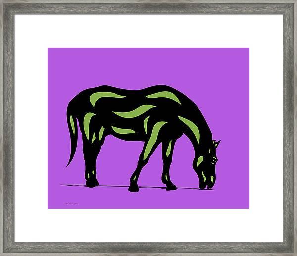Hazel - Pop Art Horse - Black, Greenery, Purple Framed Print