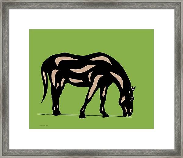 Hazel - Pop Art Horse - Black, Hazelnut, Greenery Framed Print