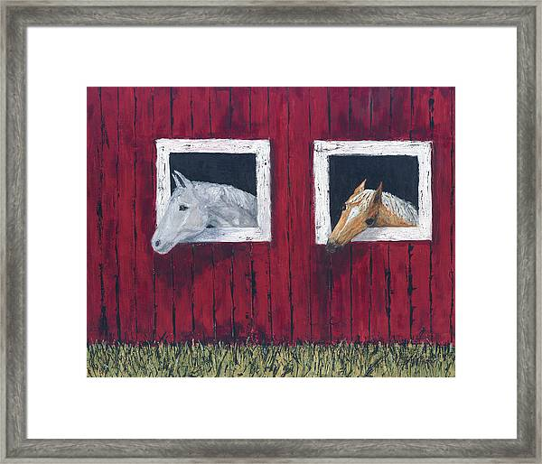 Framed Print featuring the painting He And She by Kathryn Riley Parker