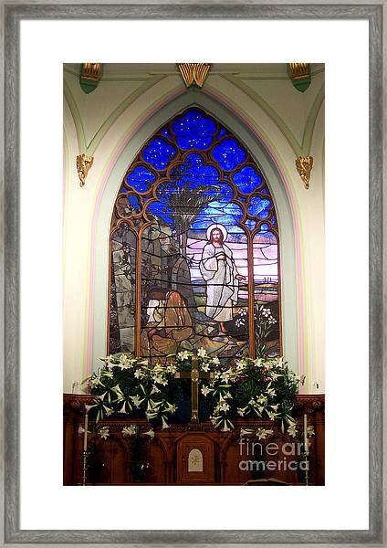 He Is Risen Stained Glass Window Framed Print