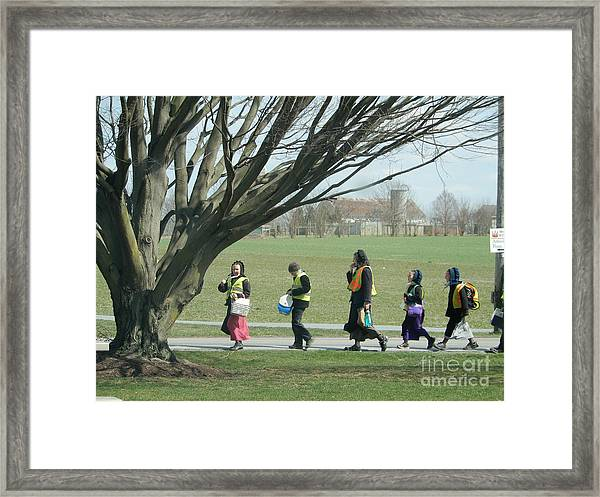 Heading Home From School Framed Print