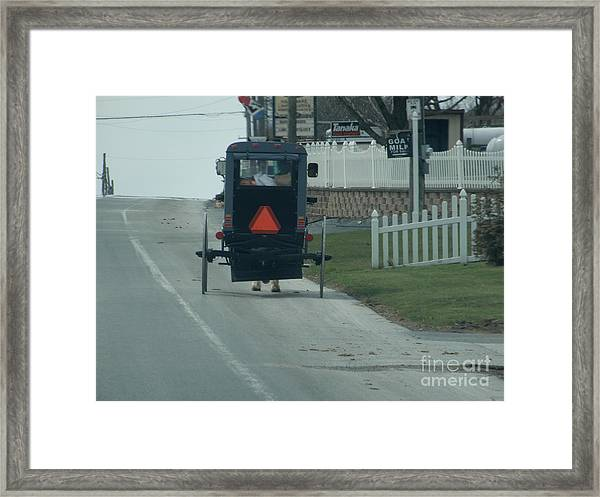 Heading Home From The Store Framed Print