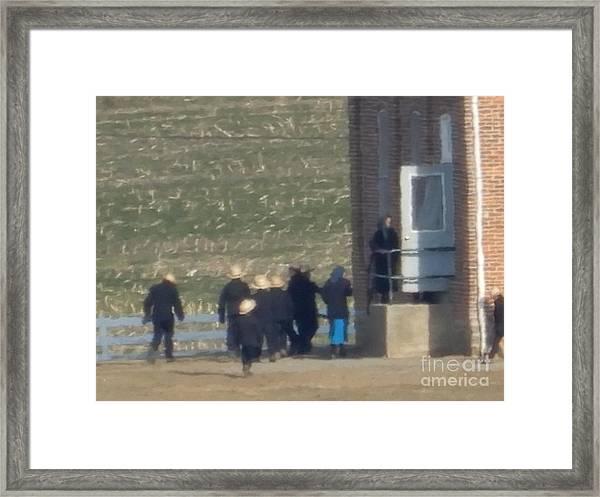 Heading Into The Schoolhouse Framed Print