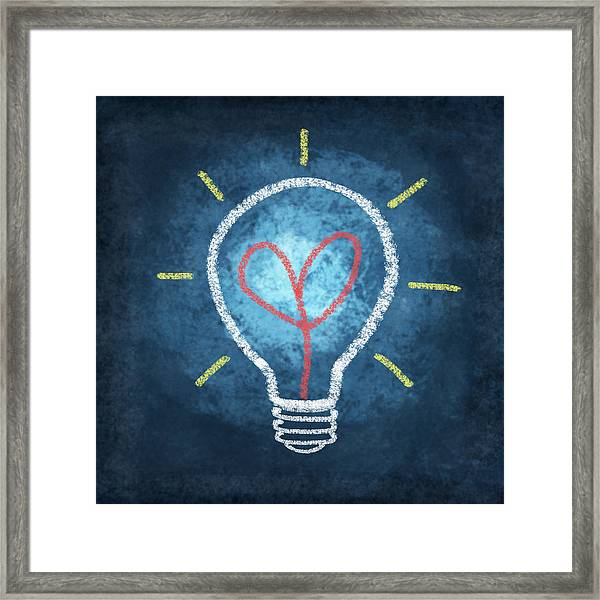 Heart In Light Bulb Framed Print