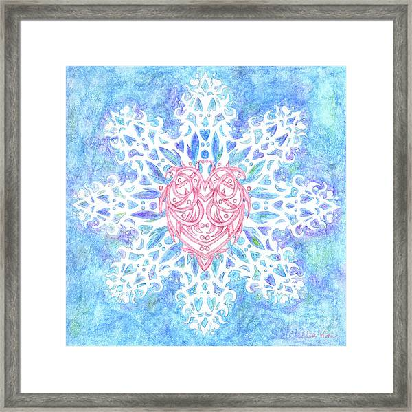 Heart In Snowflake Framed Print