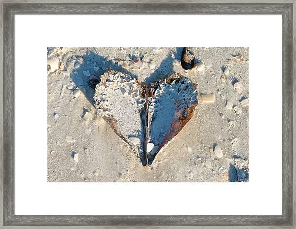 Heart On The Beach Framed Print
