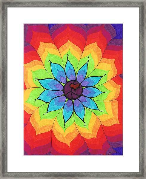 Heart Peace Mandala Framed Print