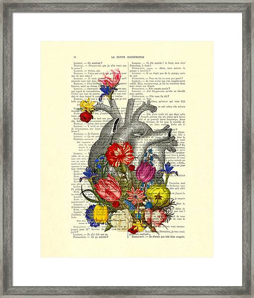 Heart With Colorful Flowers Framed Print