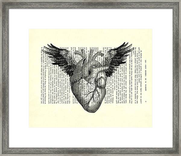Heart With Wings In Black And White Framed Print
