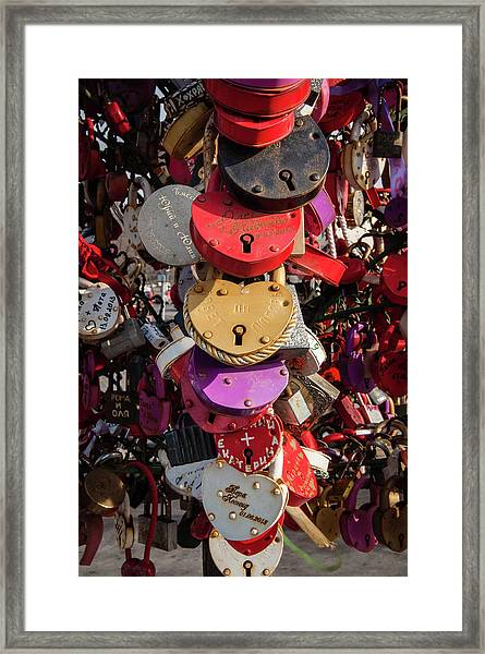 Hearts Locked In Love Framed Print
