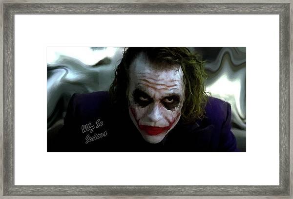 Heath Ledger Joker Why So Serious Framed Print