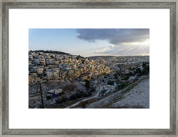 Heaven Shines On The City Of David Framed Print
