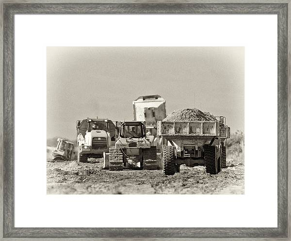 Heavy Equipment Meeting Framed Print
