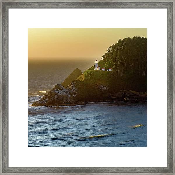 Heceta Head Lighthouse At Sunset Framed Print