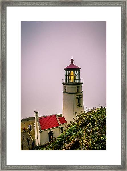 Heceta Head Lighthouse In The Fog Framed Print