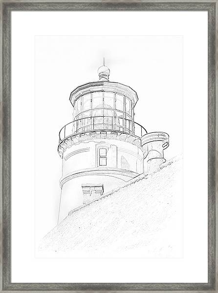 Hecitia Head Lighthouse Sketch Framed Print