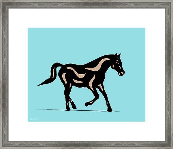 Heinrich - Pop Art Horse - Black, Hazelnut, Island Paradise Blue Framed Print