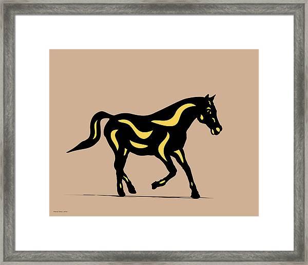 Heinrich - Pop Art Horse - Black, Primrose Yellow, Hazelnut Framed Print