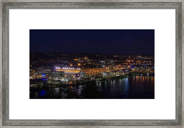 Heinz Field At Night From Mt Washington Framed Print