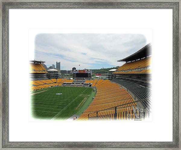 Heinz Stadium With Pittsburgh Skyline Framed Print